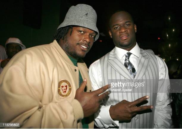 Lavar Arrington and Vince Young during NFL Pre Draft Party at Embassy in New York April 29 2006 at Embassy in New York New York United States