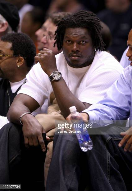 LaVar Arrington during Celebrities Attend New Jersey Nets vs Indiana Pacers Game April 25 2006 at Continental Arena in East Rutherford New Jersey...