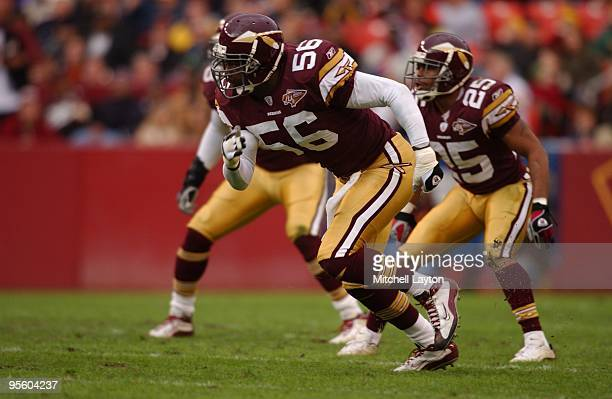 Lavar Arrington of the Washington Redskins looks on during a NFL football game against the Houston Texans on December 22 2002 at FedEx Field in...