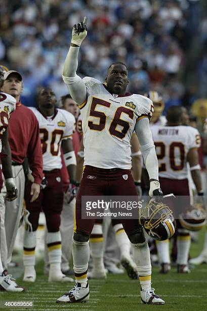 LaVar Arrington of the Washington Redskins reacts on the field during a game against the Carolina Panthers on November 16 2003 at Ericsson Stadium in...