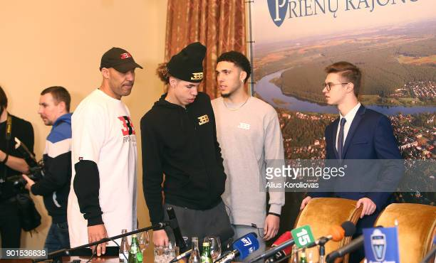 LaVar Ball along with his sons LiAngelo and LaMelo Ball during a press conference after LiAngelo and LaMelo first training session with Vytautas...