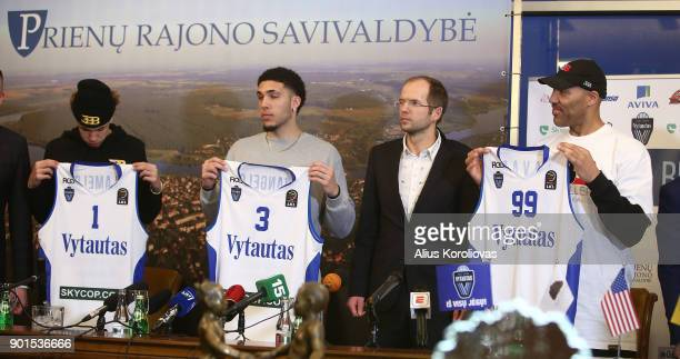 LaVar Ball along with his sons LiAngelo and LaMelo Ball during a press conference after LiAngelo and LaMelo's first training session with Vytautas...
