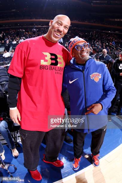 LaVar Ball and Director Spike Lee are seen at the game between the New York Knicks and Los Angeles Lakers on December 12 2017 at Madison Square...