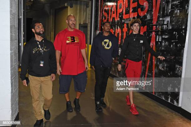 LaVar Ball and LaMelo Ball arrive at the arena before the game against the Golden State Warriors on November 29 2017 at STAPLES Center in Los Angeles...