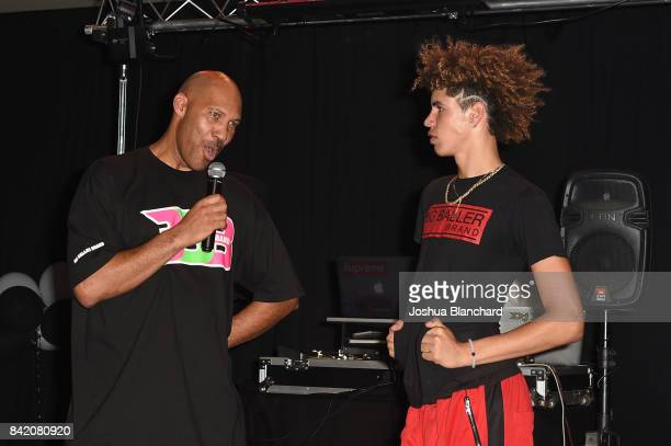 LaVar Ball and LaMelo Ball attend Melo Ball's 16th Birthday on September 2 2017 in Chino California