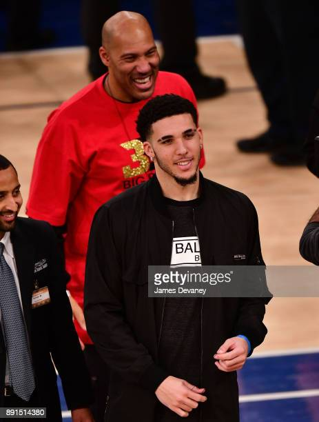 LaVar Ball and LiAngelo Ball attend the Los Angeles Lakers Vs New York Knicks game at Madison Square Garden on December 12 2017 in New York City
