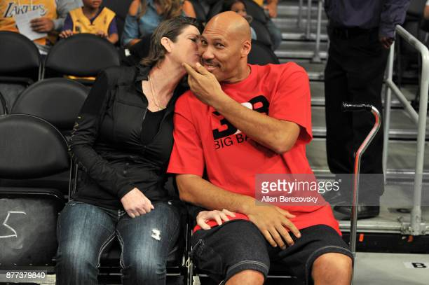 LaVar Ball and Tina Ball attend a basketball game between the Los Angeles Lakers and the Chicago Bulls at Staples Center on November 21 2017 in Los...