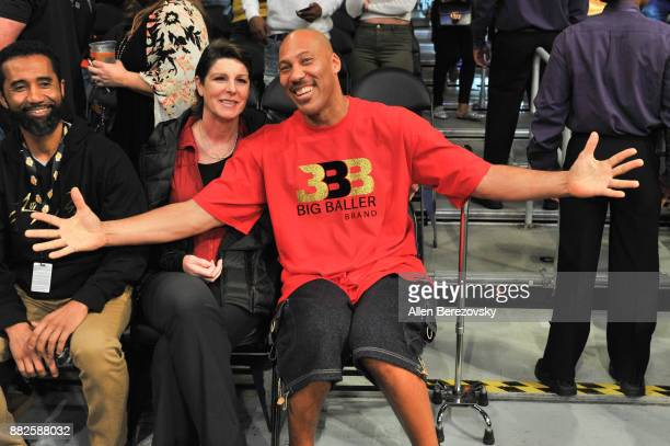 LaVar Ball and Tina Ball attend a basketball game between the Los Angeles Lakers and the Golden State Warriors at Staples Center on November 29 2017...