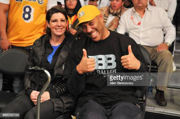 LaVar Ball and Tina Ball attend a basketball game between the Los Angeles Lakers and the Golden State Warriors at Staples Center on December 18 2017...