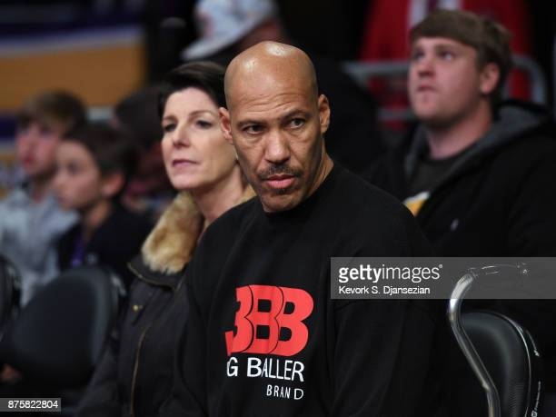 LaVar Ball and Tina Ball parents of Lonzo Ball of the Los Angeles Lakers attend a basketball game between Phoenix Suns and Los Angeles Lakers at...
