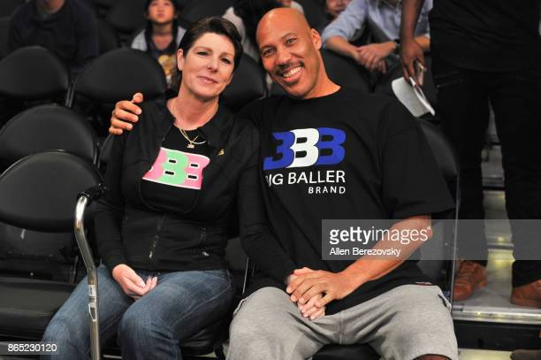LaVar Ball and wife Tina Ball attend a basketball game between the Los Angeles Lakers and the New Orleans Pelicans at Staples Center on October 22...