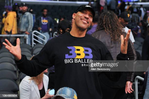 LaVar Ball attends a basketball game between the Los Angeles Lakers and and the Minnesota Timberwolves at Staples Center on November 07, 2018 in Los...