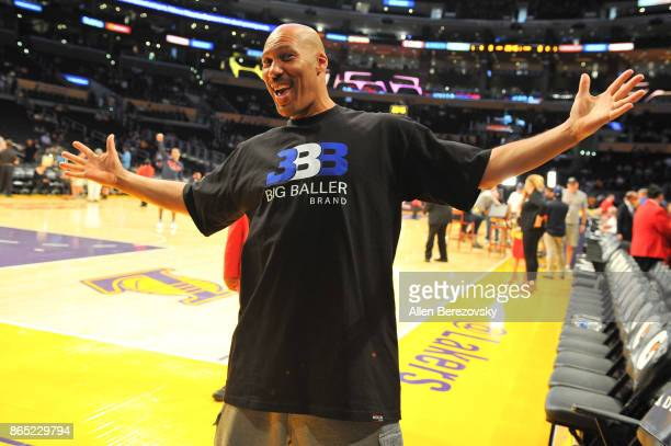LaVar Ball attends a basketball game between the Los Angeles Lakers and the New Orleans Pelicans at Staples Center on October 22 2017 in Los Angeles...