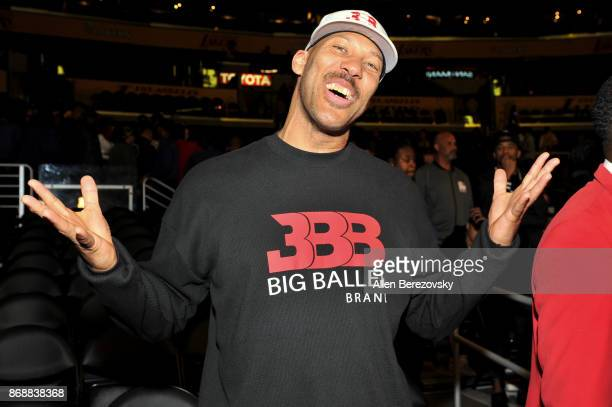 LaVar Ball attends a basketball game between the Los Angeles Lakers and the Detroit Pistons at Staples Center on October 31 2017 in Los Angeles...