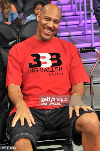 LaVar Ball attends a basketball game between the Los Angeles Lakers and the Chicago Bulls at Staples Center on November 21, 2017 in Los Angeles,...