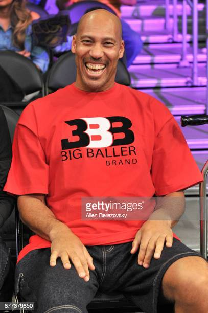LaVar Ball attends a basketball game between the Los Angeles Lakers and the Chicago Bulls at Staples Center on November 21 2017 in Los Angeles...
