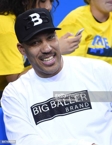 LaVar Ball attends the game between the UCLA Bruins and the Washington Huskies at Pauley Pavilion on March 1 2017 in Los Angeles California