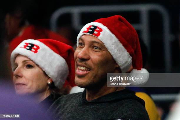 LaVar Ball attends the Los Angeles Lakers game against the Minnesota Timberwolves at the Staples Center on December 25, 2017 in Los Angeles,...