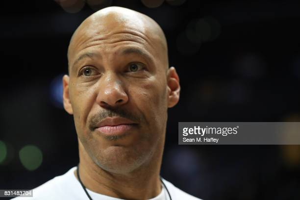 LaVar Ball attends week eight of the BIG3 three on three basketball league at Staples Center on August 13, 2017 in Los Angeles, California.