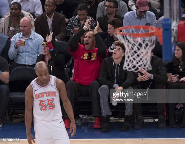 LaVar Ball celebrates a three point shot made by his son Lonzo Ball of the Los Angeles Lakers during the game against the New York Knicks at Madison...