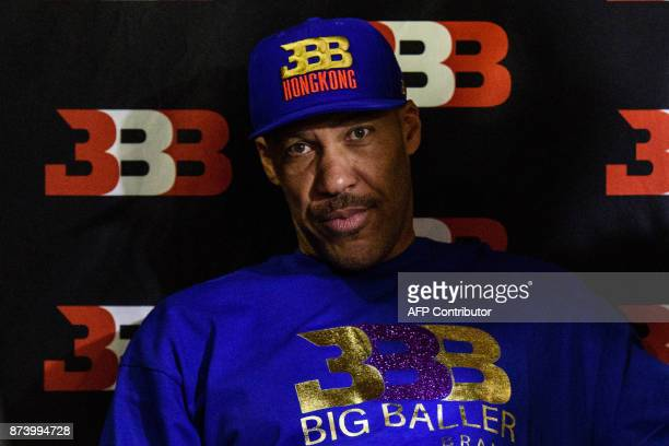 LaVar Ball father of basketball player LiAngelo Ball and the owner of the Big Baller brand attends a promotional event in Hong Kong on November 14...
