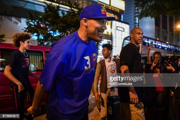 LaVar Ball father of basketball player LiAngelo Ball and the owner of the Big Baller brand arrives with other son LaMelo Ball during a promotional...