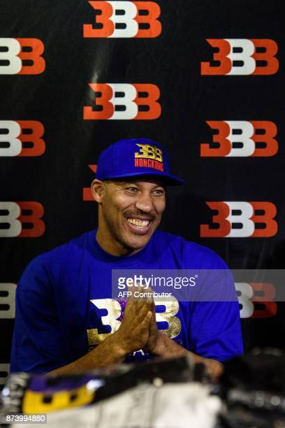 LaVar Ball father of basketball player LiAngelo Ball and the owner of the Big Baller brand reacts during a promotional event in Hong Kong on November...