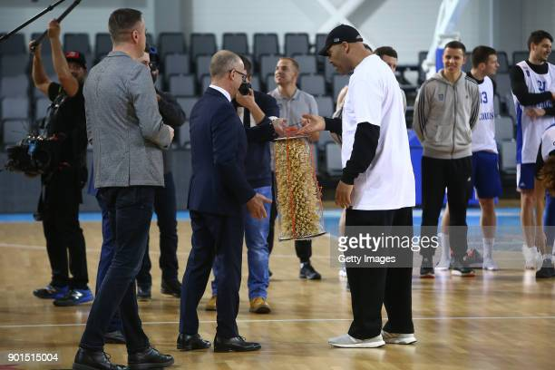 LaVar Ball father of LaMelo and LiAngelo Ball is greated by a team official during a first training session with Lithuania Basketball team Vytautas...