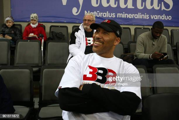 LaVar Ball, father of LaMelo and LiAngelo Ball looks on during their first training session with Lithuania Basketball team Vytautas Prienai on...