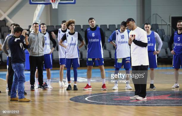 LaVar Ball, father of LaMelo and LiAngelo Ball talks to the team during a first training session with Lithuania Basketball team Vytautas Prienai on...