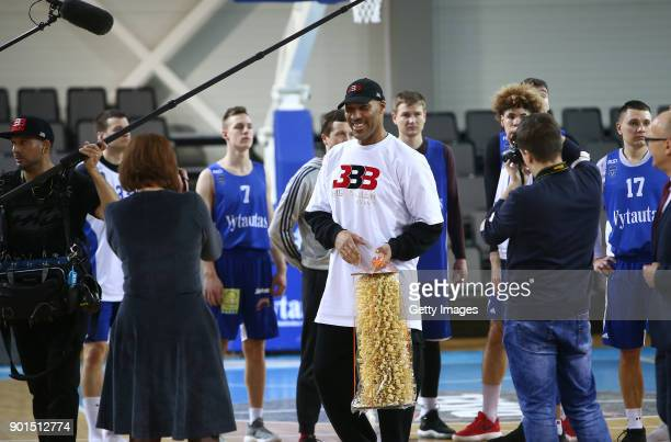 LaVar Ball father of LaMelo and LiAngelo Ball talks to the team during a first training session with Lithuania Basketball team Vytautas Prienai on...