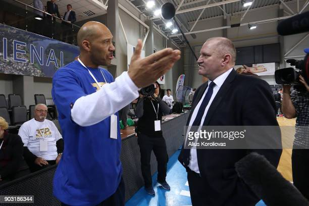 LaVar Ball father of LiAngelo and LaMelo Ball talks with Virginijus Seskus head coach of Vytautas Prienai during the match between Vytautas Prienai...