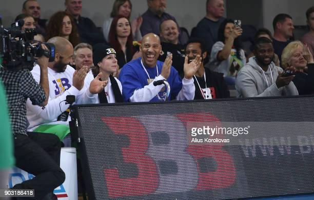 LaVar Ball father of LiAngelo and LaMelo looks on during the match between Vytautas Prienai and Zalgiris Kauno on January 9 2018 in Prienai Lithuania