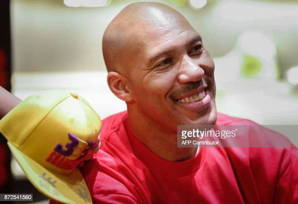 LaVar Ball father of LiAngelo Ball and the owner of the Big Baller brand attends a promotional event in Shanghai on November 10 2017 LiAngelo Ball...