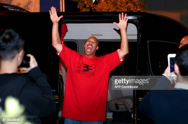 LaVar Ball father of LiAngelo Ball and the owner of the Big Baller brand gestures as he attends a promotional event in Shanghai on November 10 2017...