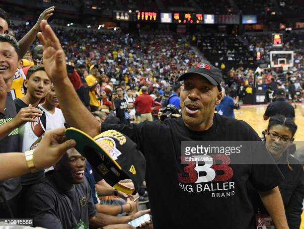 LaVar Ball father of Lonzo Ball of the Los Angeles Lakers greets fans at halftime of a 2017 Summer League game between the Lakers and the Los Angeles...