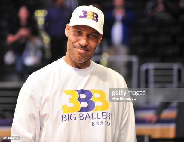 LaVar Ball holds courd during The Los Angeles Lakers game against the Denver Nuggets at Staples Center on October 2 2017 in Los Angeles California