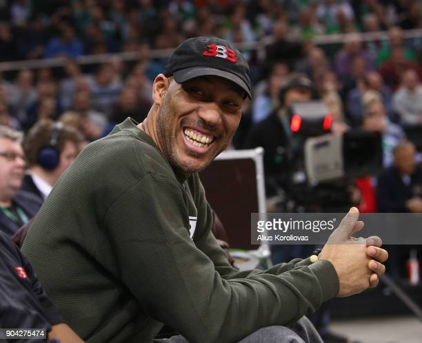 Lavar Ball in action during the 2017/2018 Turkish Airlines EuroLeague Regular Season Round 17 game between Zalgiris Kaunas and Unicaja Malaga at...