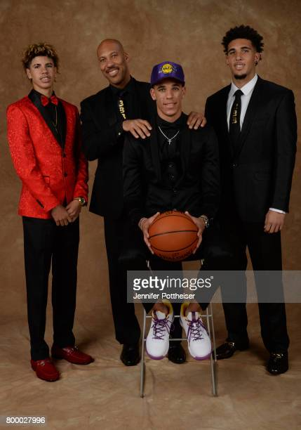 LaVar Ball LaMelo Ball and LiAngelo Ball pose for a portrait with Lonzo Ball after being drafted number two overall to the Los Angeles Lakers during...