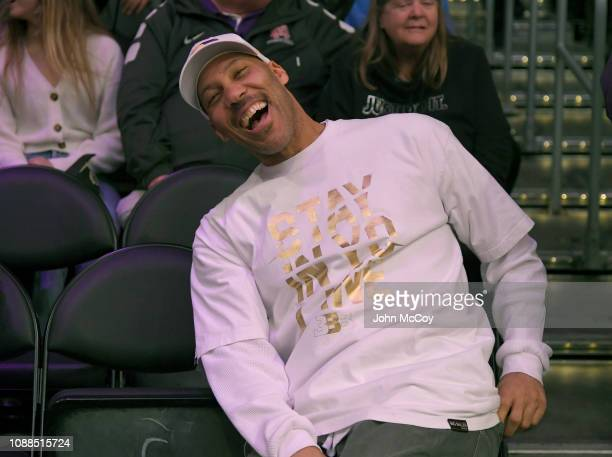 LaVar Ball laughs as he watches his son Lonzo Ball of the Los Angeles Lakers play the Sacramento Kingsat Staples Center on December 30, 2018 in Los...