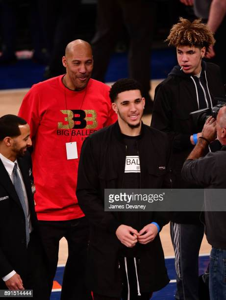 LaVar Ball LiAngelo Ball and LaMelo Ball attend the Los Angeles Lakers Vs New York Knicks game at Madison Square Garden on December 12 2017 in New...