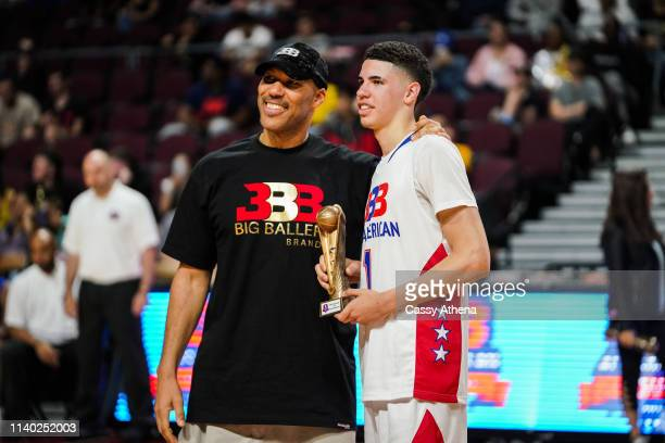 LaVar Ball presents an award to son LaMelo Ball after the Big Baller Brand All American Game at the Orleans Arena on March 31, 2019 in Las Vegas,...