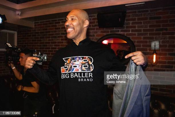 LaVar Ball shows off his custom Big Baller Brand shirt at LiAngelo Ball's 21st Birthday Party at Argyle club on November 23, 2019 in Hollywood,...