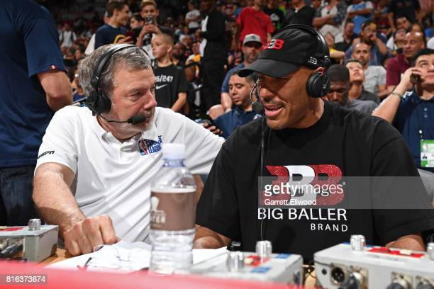 Lavar Ball talks to Pete Carlesimo during halftime when the Los Angeles Lakers played the Los Angeles Clippers on July 7 2017 at the Thomas Mack...