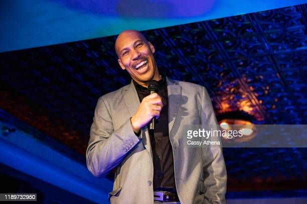 LaVar Ball thanks the crowd for attending LiAngelo Ball's 21st Birthday Party at Argyle club on November 23, 2019 in Hollywood, California.