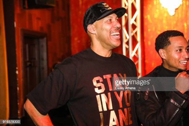 LaVar Ball watches his son Lonzo Ball of the Los Angeles Lakers perform on stage as the Big Baller Brand hosts a fashion show and the release of...