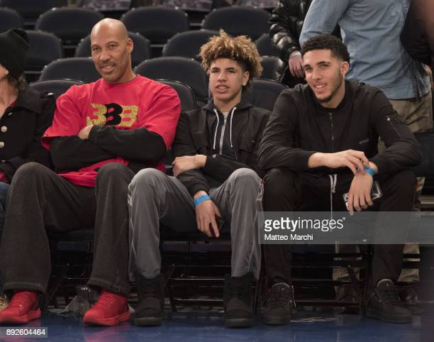 LaVar Ball with his sons LiAngelo Ball and LaMelo Ball attend the game between the Los Angeles Lakers and the New York Knicks at Madison Square...