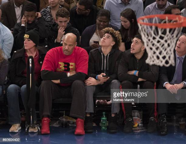 LaVar Ball with his wife Tina Ball and their sons LiAngelo Ball and LaMelo Ball attend the game between the Los Angeles Lakers and the New York...