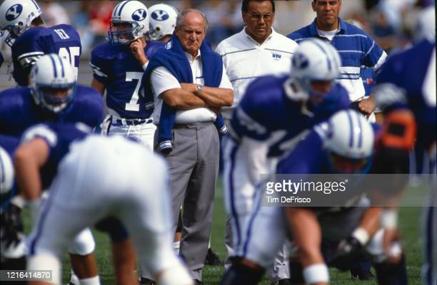 LaVell Edwards Head Coach for the Brigham Young University Cougars on the sideline during the NCAA Western Athletic Conference college football game...