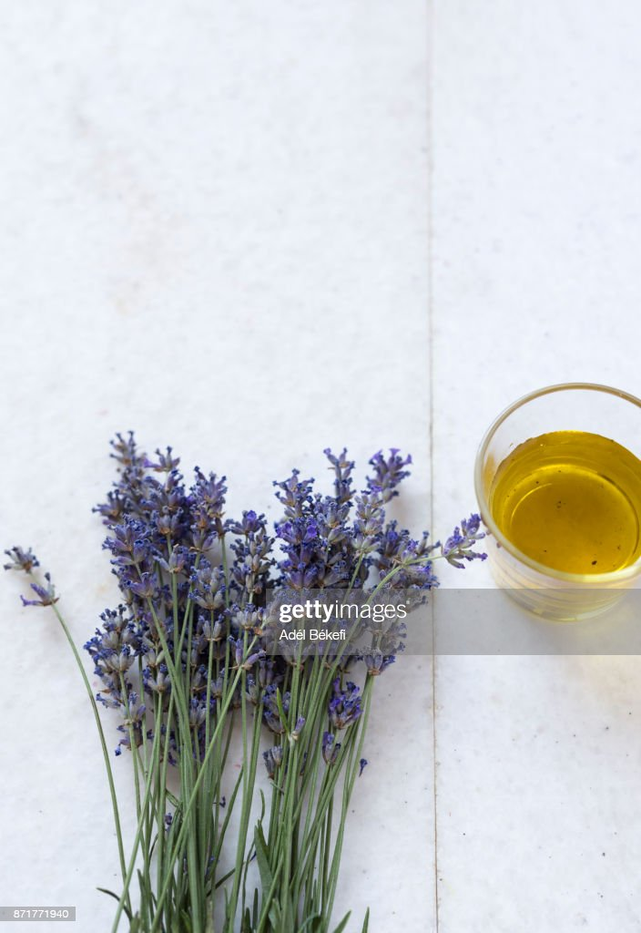 Lavender and oil : Stock Photo